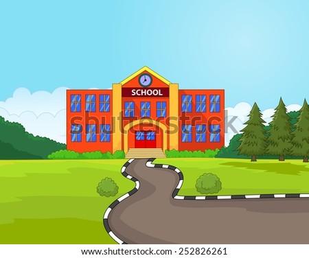 Illustration of school building - stock vector