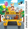 Illustration of school bus filled with animals - stock