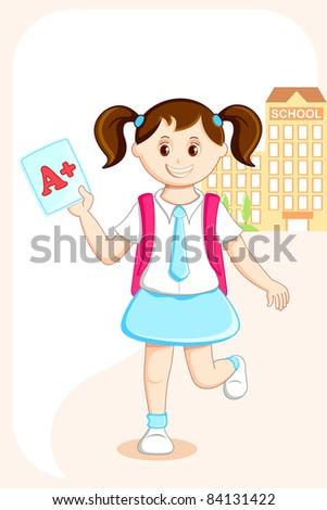 illustration of school girl with grade sheet in front of school - stock vector