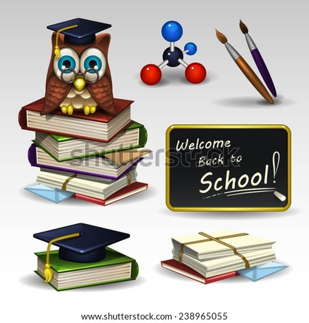 Illustration of school icons set - stock vector