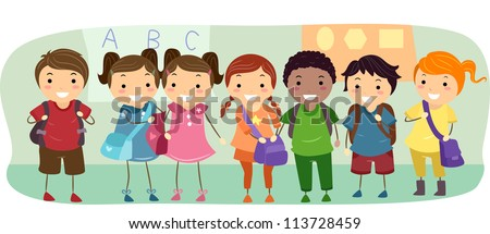 Illustration of School Kids Neatly Lined Up in One Row - stock vector