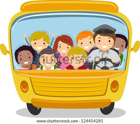 Illustration of School Kids Riding a School Bus
