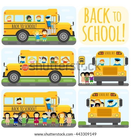 Illustration of school kids riding yelliw schoolbus transportation education. Student child isolated school bus safety stop drive vector. Travel automobile school bus public trip childhood truck. - stock vector