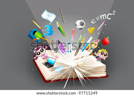 illustration of school object popping out from open book - stock vector