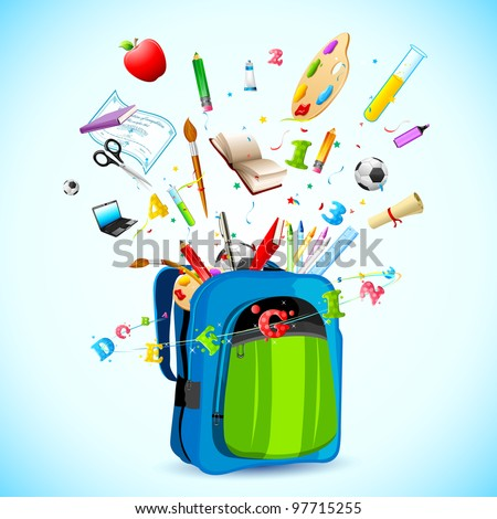 illustration of school object popping out from school bag - stock vector