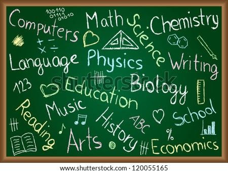 Illustration of school subjects and doodles drawn on chalkboard - stock vector