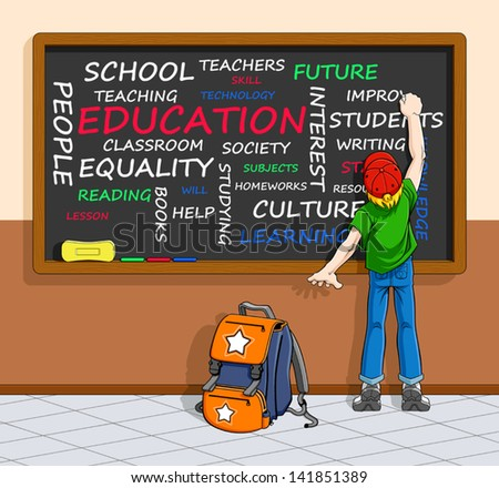 Illustration of schoolboy writing a word-cloud about education on a chalkboard. You can clear the words and write your ones. - stock vector
