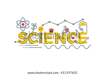 Illustration of SCIENCE word in STEM - science, technology, engineering, mathematics education concept typography design with icon ornament elements - stock vector