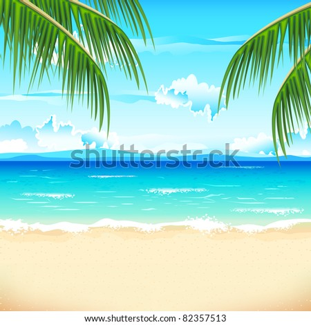 illustration of sea beach with palm tree - stock vector