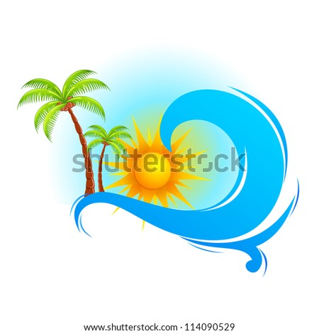 illustration of sea wave with palm tree and sun - stock vector