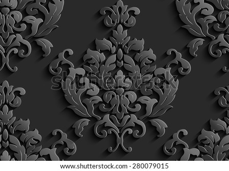 Illustration of seamless abstract black floral vine pattern - stock vector