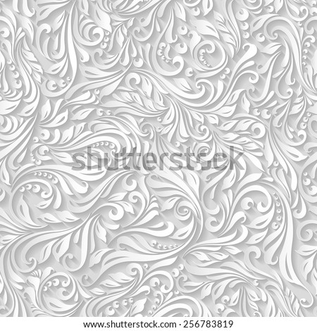 Illustration of seamless abstract white floral and vine pattern - stock vector