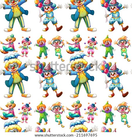 Illustration of seamless clowns - stock vector