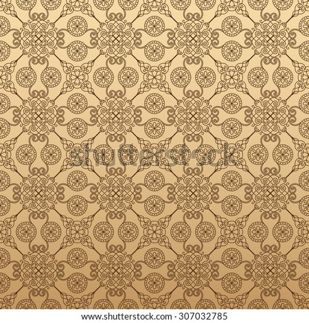 Illustration of seamless floral background in vintage style. Wallpaper with abstract patterns in the form of tiles. Ornament for design and print texture - stock vector