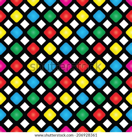 Illustration of seamless pattern of colored squares on a black background - stock vector