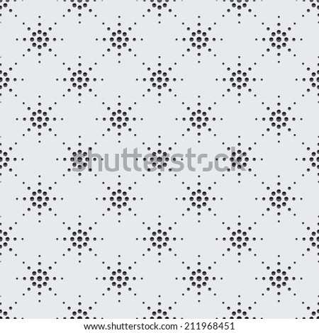 Illustration of seamless pattern of symbolic stars on a gray background