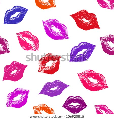 Illustration of seamless pattern with abstract lips