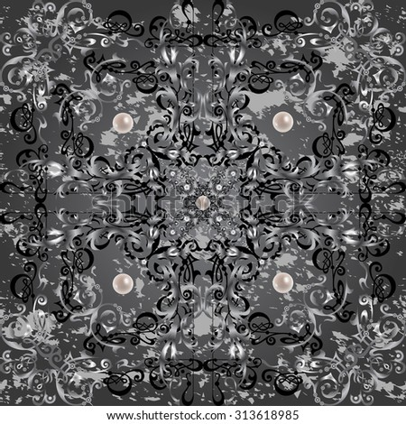 Illustration of seamless pattern with abstract ornament, pearl decoration and grunge texture background