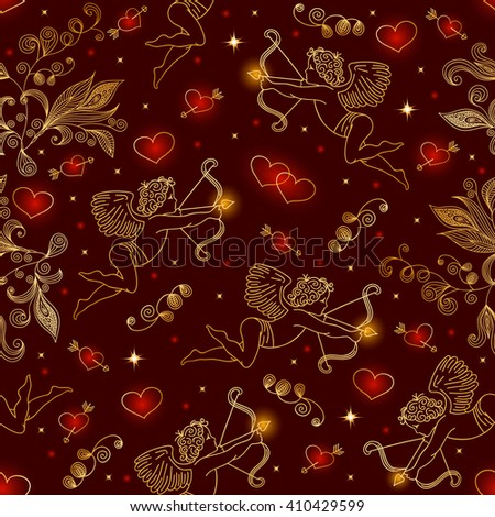 Illustration of seamless pattern with doodle cupids, hearts and floral elements