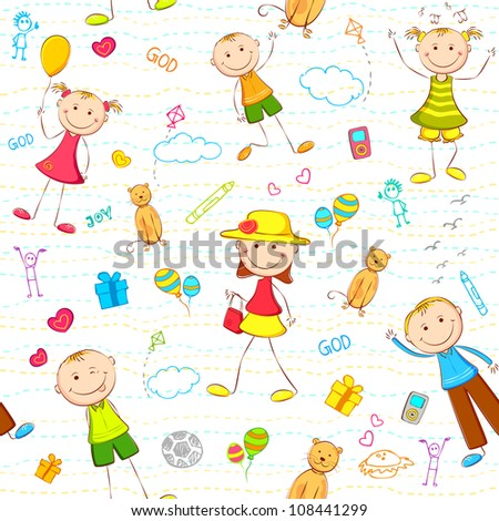 illustration of seamless pattern with kids enjoying birthday - stock vector