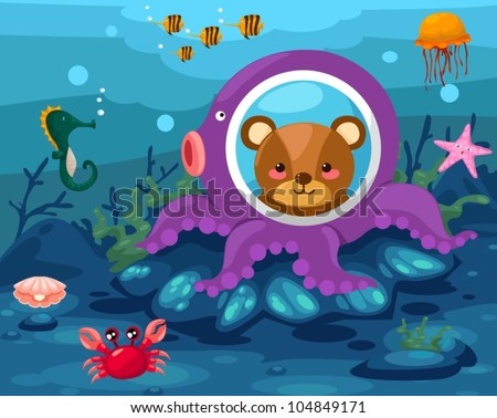 illustration of seascape underwater - stock vector