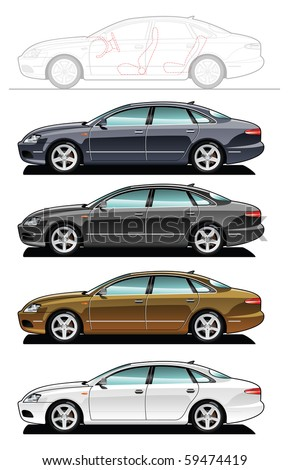 illustration of sedan. (Simple gradients only - no gradient mesh.) - stock vector