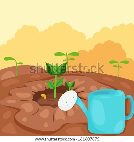 illustration of  seeding sprout with watering can - stock vector