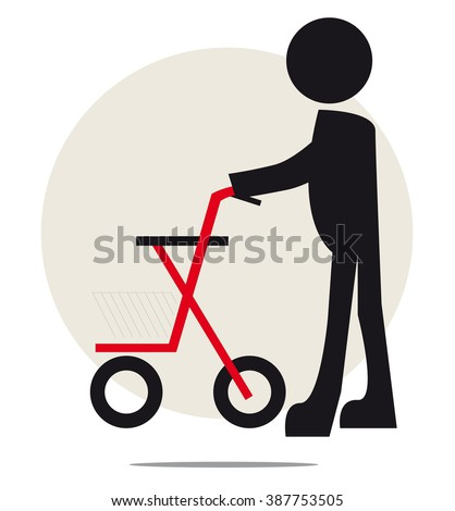 Illustration of senior with walker on circle background - stock vector
