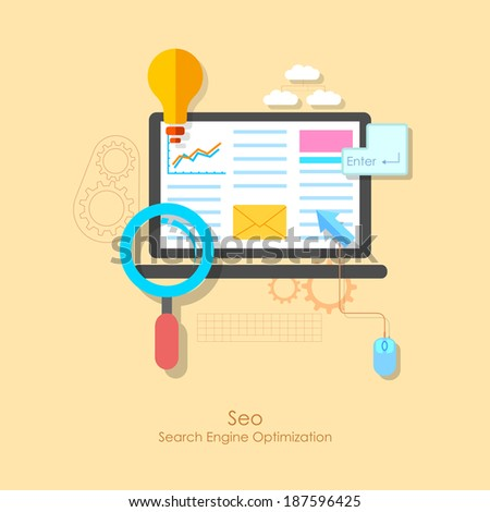 illustration of SEO concept in flat style - stock vector