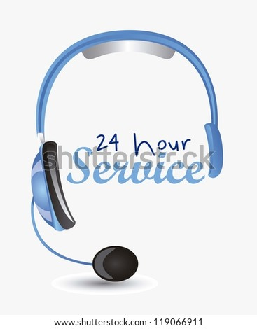 Illustration of service icon, operator service 24 hours a day, vector illustration - stock vector