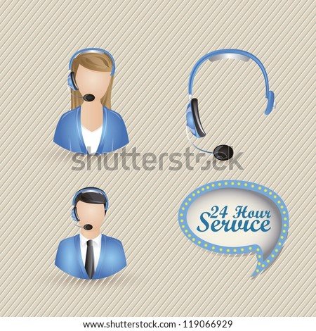 Illustration of service icons, operator service 24 hours a day, vector illustration - stock vector