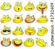 illustration of set glossy frog headed smiley in different mood - stock vector