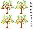illustration of set of apple,mango,pear and orange tree - stock vector