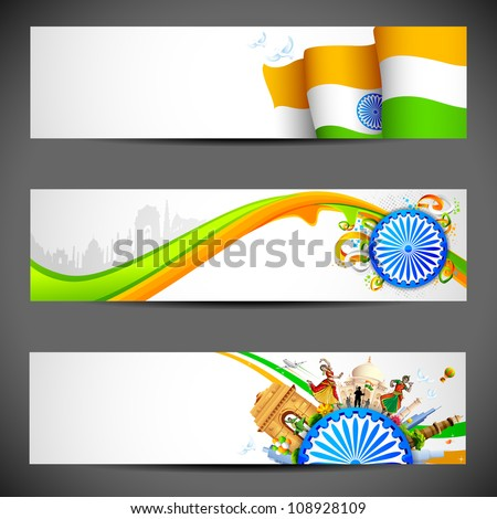 illustration of set of banner for colorful India - stock vector