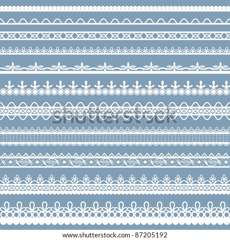 illustration of set of beautiful lace border on plain background - stock vector