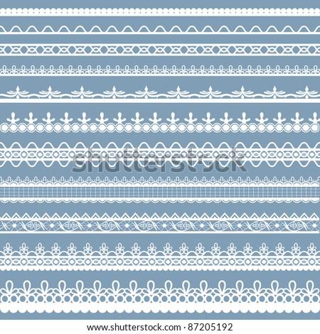illustration of set of beautiful lace border on plain background - stock vector