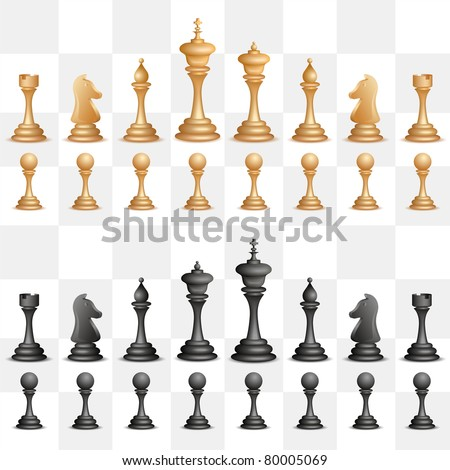 illustration of set of black chess figure on isolated background - stock vector