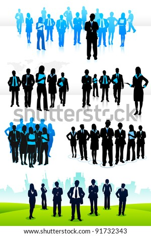 illustration of set of business people on isolated background - stock vector