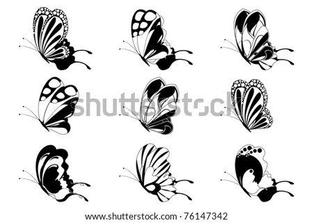 illustration of set of butterfly silhouette on isolated background - stock vector