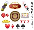illustration of set of casino icons on isolated white background - stock vector