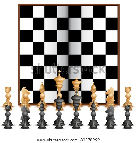 illustration of set of chess figure with chess board - stock vector