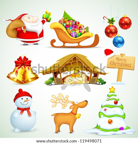 illustration of set of Christmas object for design - stock vector