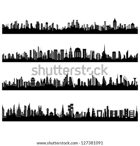 illustration of set of cityscape silhouette on white background