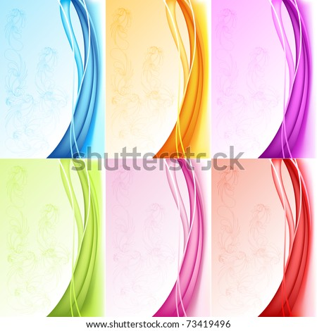 illustration of set of colorful background with floral pattern - stock vector