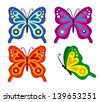 illustration of set of colorful butterflies on isolated background - stock vector