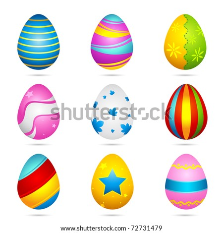 illustration of set of colorful decorated easter eggs on isolated background - stock vector