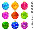 illustration of set of colorful decorative Christmas ball - stock vector
