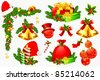 illustration of set of colorful element for christmas decoration - stock vector