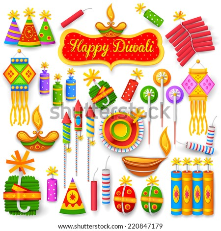 illustration of set of colorful firecracker for Diwali holiday fun - stock vector