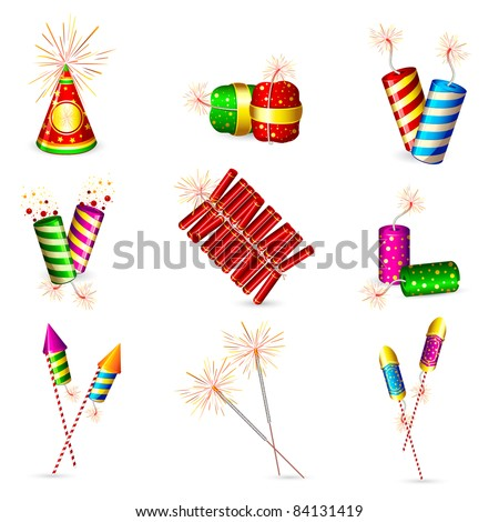 illustration of set of colorful firecracker for holiday fun - stock vector
